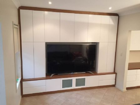 Tasmanian Oak Timber & Polyurethane in White Wall Unit