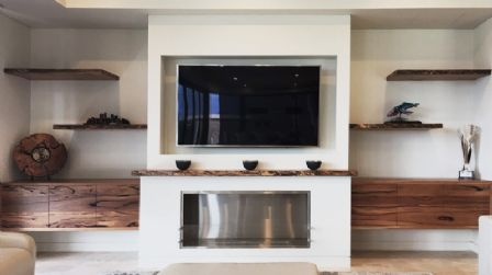 Marri Wood Timber Floating Build-in Wall Unit