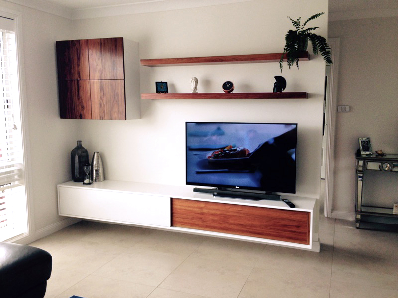 Blackwood and Polyurethane Floating TV Wall Unit